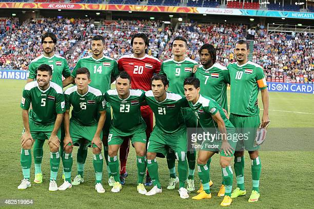 Iraq line up as a team group before the Third Place 2015 Asian Cup match between Iraq and the United Arab Emirates at Hunter Stadium on January 30...