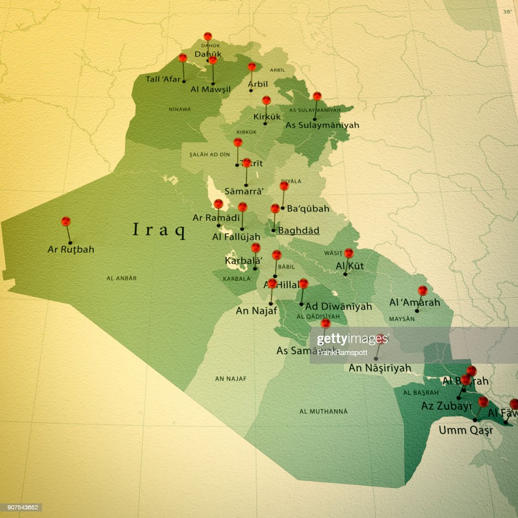 Iraq Map Square Cities Straight Pin Vintage Stock Photo | Getty Images