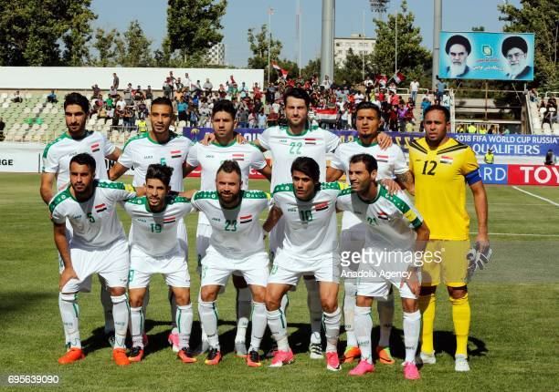 Iraq National Fooball team pose for a team photo ahead of the 2018 FIFA World Cup Asian Qualifying group B football match between Iraq and Japan at...