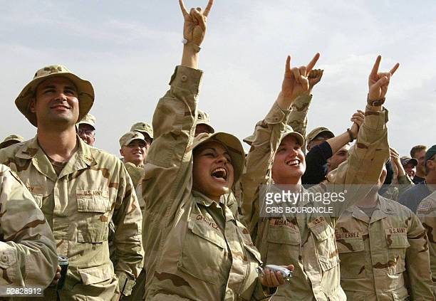 Over 300 US Army gathered at Camp Merez to listen US country western performer Toby Keith visiting in the city of Mosul 400 kilometers north of...