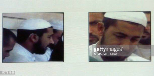 Pictures displayed during a press conference given by Laith Kubba the spokesman for Iraqi Prime Minister in Baghdad 27 September 2005 shows Abu Azzam...