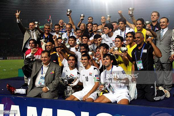 Iraq players celebrate winnig the AFC Asian Cup 2007 final between Iraq and Saudi Arabia at Gelora Bung Karno Stadium on July 29 2007 in Jakarta...