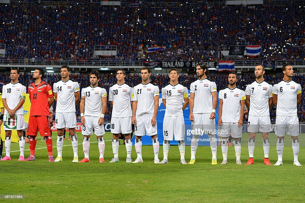 Iraq players eleven line up poses during the 2018 FIFA World Cup Qualifier match between Thailand and Iraq at Rajamangala Stadium on September 8, 2015 in Bangkok, Thailand.