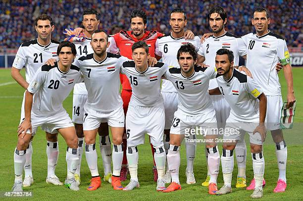 Iraq players eleven line yp poses during the 2018 FIFA World Cup Qualifier match between Thailand and Iraq at Rajamangala Stadium on September 8 2015...