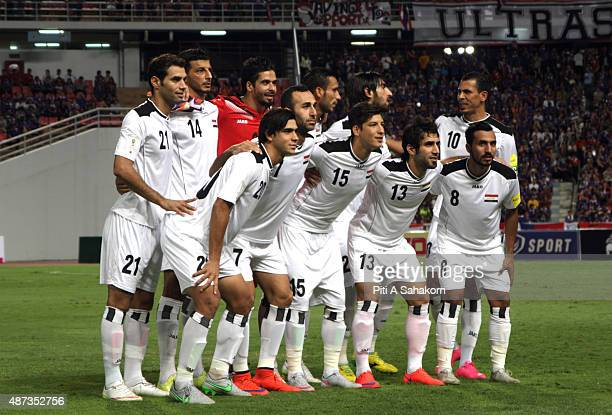 Iraq players pose during the 2018 FIFA World Cup Qualifier match between Thailand and Iraq at the Rajamangala National Stadium in Bangkok Thailand...