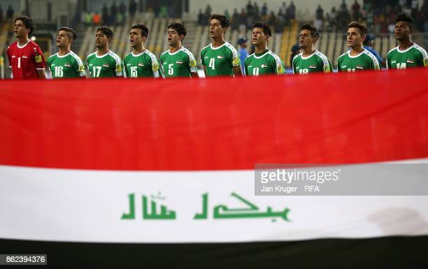 Iraq players sing their national anthem during the FIFA U17 World Cup India 2017 Round of 16 match between Mali and Iraq at Pandit Jawaharlal Nehru...