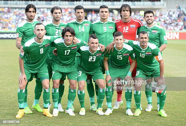 Iraq pose for a photo before their AFC Asian Cup quarterfinal football match against Iran in Canberra on January 23 2015 AFP PHOTO/Peter PARKS IMAGE...