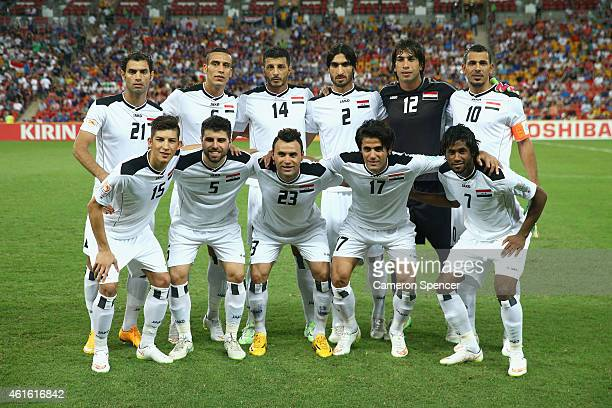 Iraq pose for a team shot during the 2015 Asian Cup match between Iraq and Japan at Suncorp Stadium on January 16 2015 in Brisbane Australia