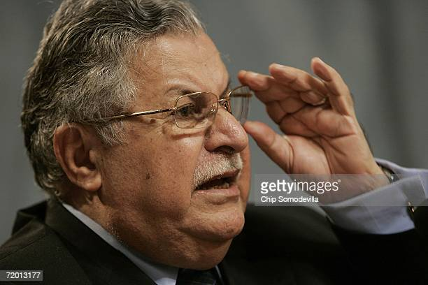 Iraq President Jalal Talabani answers questions from audience members during an appearance at the Woodrow Wilson International Center for Scholars...