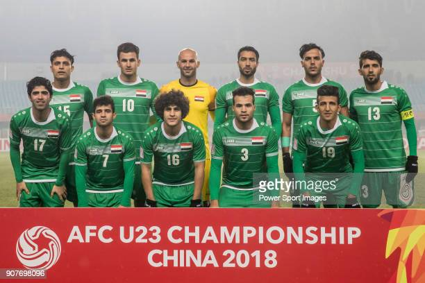 Iraq squad poses for photos prior to the AFC U23 Championship China 2018 Group C match between Iraq and Jordan at Changshu Sports Center on 16...