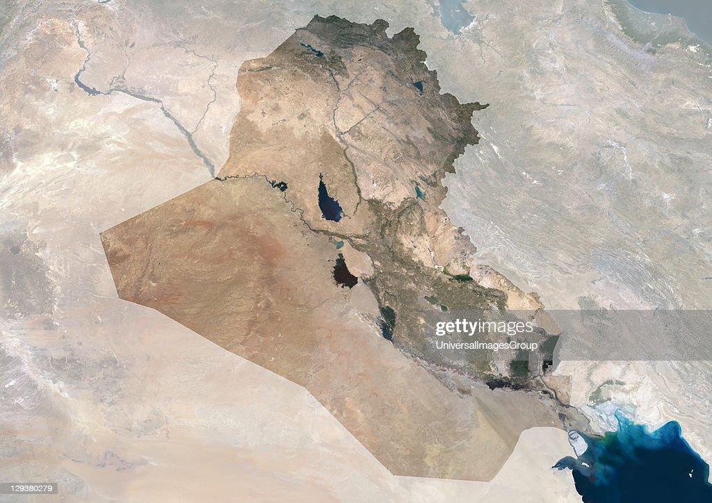 Iraq, True Colour Satellite Image With Mask : News Photo