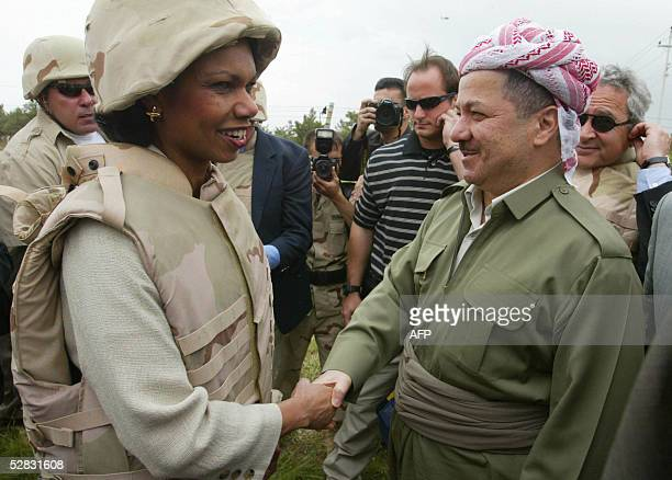 US Secretary of State Condoleezza Rice meets Kurdish leader Massoud Barzani in the northern city of Arbil during a brief visit to Iraq 15 May 2005...