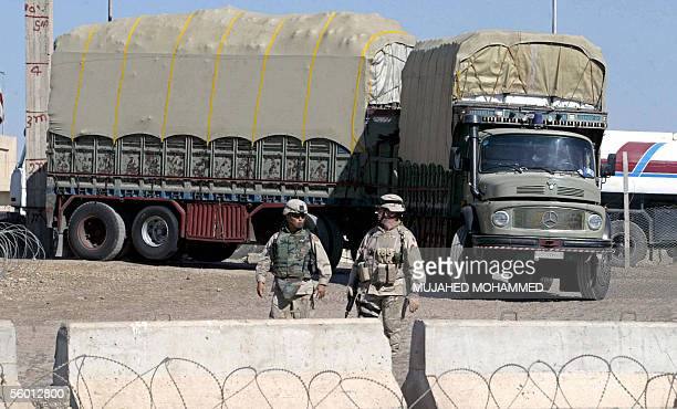 US soldiers secure the IraqiSyrian Rabia border crossing 25 October 2005 north of Iraq The border point was reopened after it was closed last month...