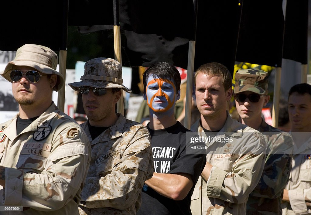 Iraq Veterans Against War lead the peach march from the White House to the Capitol on Saturday, Sept. 15, 2007.