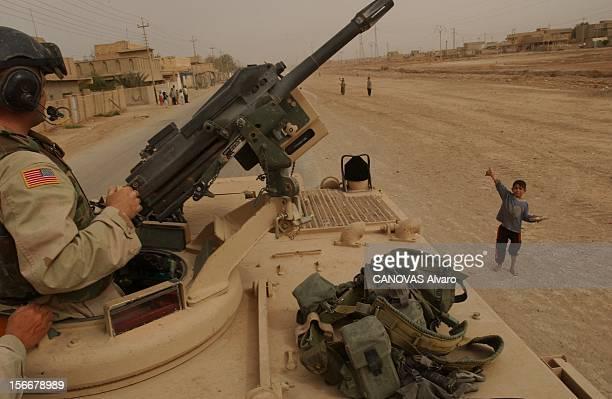 Iraq War Mission Accomplished For The 41st Libération de la ville d'ALDIWANIYYA par le 41ème régiment d'infanterie soldat dans la tourelle de son...