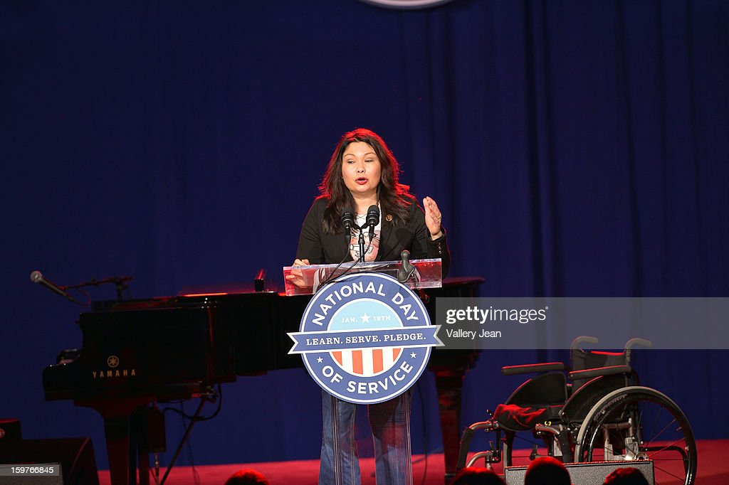 Iraq war Veteran and Congresswoman Tammy Duckworth attends Presidential National Day Of Service at National Mall on January 19, 2013 in Washington, DC.