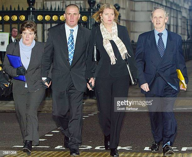 Iraq war widow Samantha Roberts arrives at the Ministry of Defence accompanied by her motherinlaw Marion Chapman her brotherinlaw Tristan Tancock and...