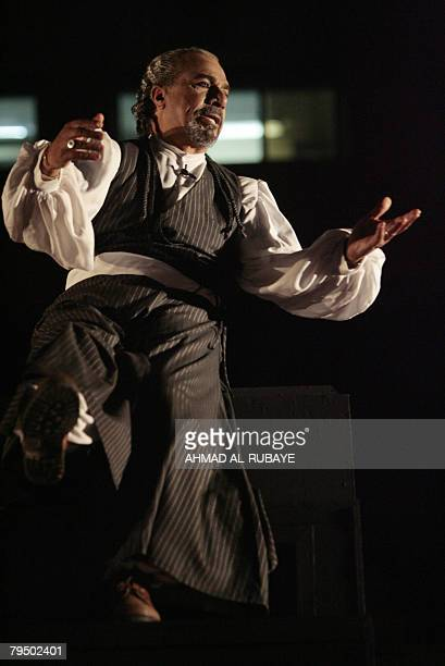 Iraqi actor Aziz Khayun performs in the play Dairat alOshq alBaghdadiyah or the Baghdadi Love Circle at the national theatre in Baghdad on February 4...
