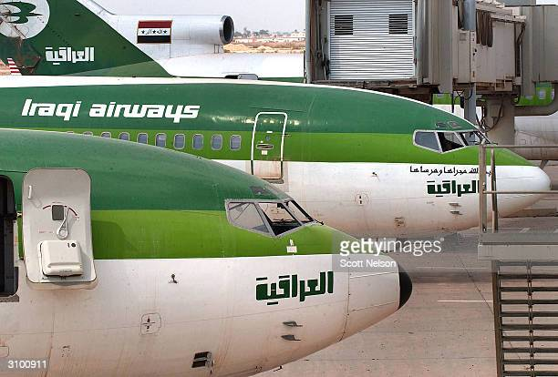 Iraqi Airways 747 aircraft lie idle at the Baghdad International Airport March 16 2004 in Baghdad Iraq Iraqi Airways is struggling a year after the...