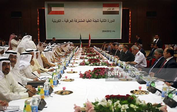 Iraqi and Kuwaiti delegations attend the joint IraqiKuwaiti Committee meeting on April 29 2012 in Baghdad Iraq Iraq and Kuwait initiated the...