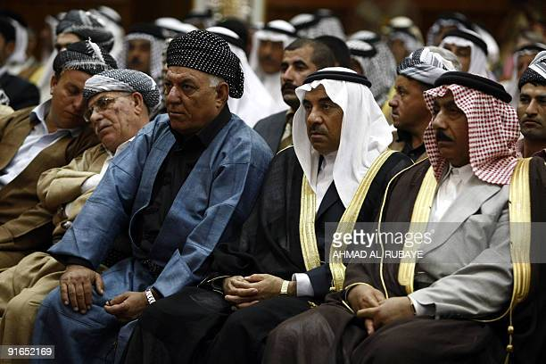 Iraqi Arabs and Kurds attend a ceremony to announce the newlyformed Tajamo AlHilal list in Baghdad on October 9 2009 The list which includes Arabs...