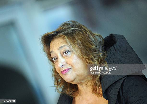 Iraqi architect Zaha Hadid looks on during a press conference at the Maxxi Italy's first national museum of contemporary art designed by Zaha Hadid...