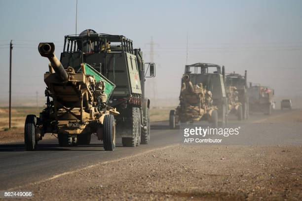 Iraqi army artillery are seen on a road southwest of Kirkuk on October 17 2017 Iraqi forces took control of the two largest oil fields in the...
