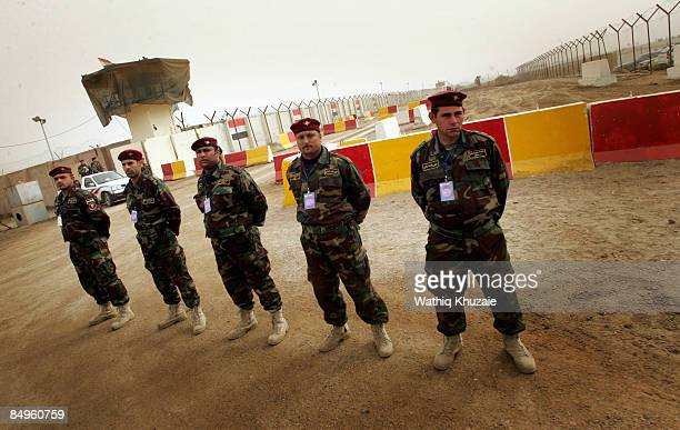 Iraqi army soldiers patrol outside of the newly opened Baghdad Central Prison in Abu Ghraib on February 21 2009 in Baghdad Iraq The Iraqi Ministry of...
