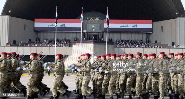 Iraqi army stage a military parade after Iraqi army completely freed Mosul from Daesh at the Green Zone in Baghdad Iraq on July 15 2017