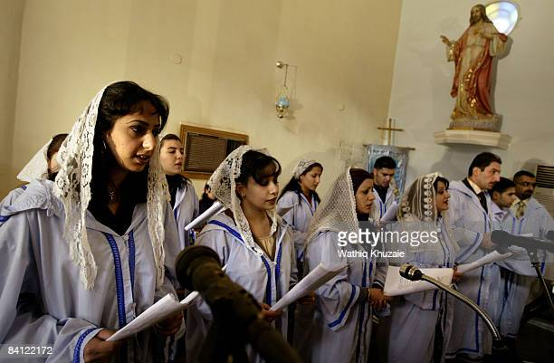 Iraqi Christians attend Christmas mass at the Virgin Mary church on December 25 2008 in Baghdad Iraq Iraqi Christians celebrated Christmas as...
