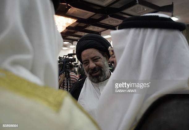 Iraqi Cleric Sayyed Abbas alMusawi arrives for the launching of the newly formed Iraqi Independence Movement party in Baghdad on June 12 2008 The...