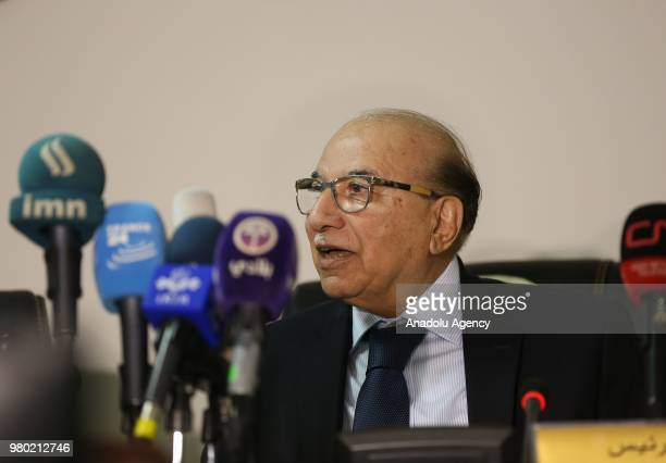 Iraqi Constitutional Court President Medhat alMahmoud speaks to media regarding the Iraqs supreme court's decision on recounting of votes manually of...