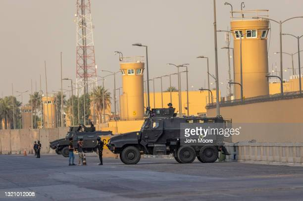Iraqi Counter Terrorism Forces stand guard outside the U.S. Embassy on May 30, 2021 in Baghdad, Iraq. Coalition forces based in Baghdad's...