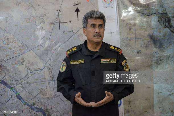 Iraqi CounterTerrorism Services chief of staff LieutenantGeneral AbdulWahab alSaadi speaks on June 17 2017 in the embattled city of Mosul / AFP PHOTO...