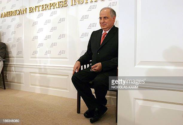Iraqi Deputy Prime Minister Ahmed Chalabi waits to be introduced 09 November at the American Enterprise Institute in Washington, DC. Chalabi on an...