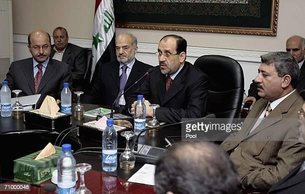 Iraqi Deputy Prime Minister and acting Minister of State Security Barham Saleh former Iraqi Prime Minister Ibrahim alJaafari new Prime Minister Nuri...