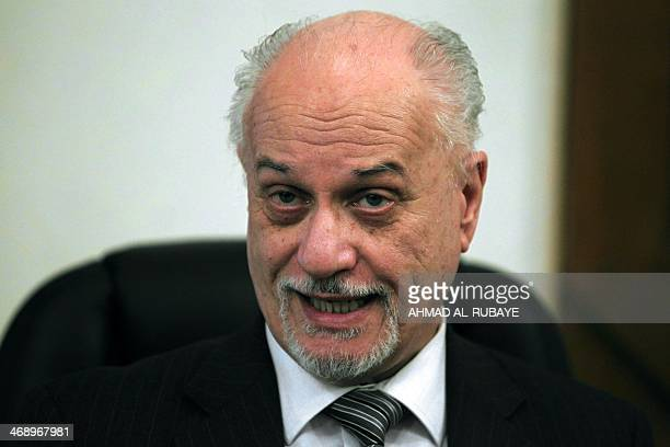 Iraqi Deputy Prime Minister Hussein alShahristani speaks during an interview with a journalist in the capital Baghdad on February 12 2014 Shahristani...