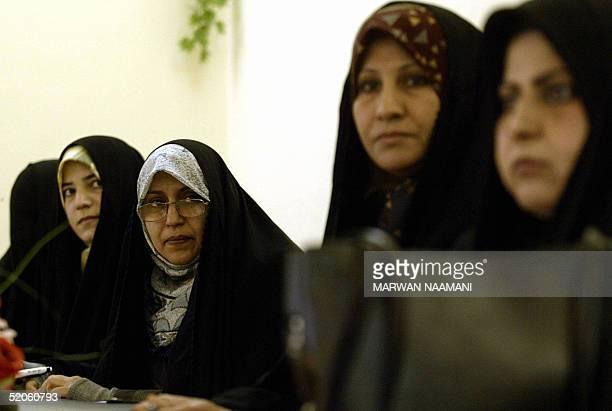 Iraqi election candidates Nadia Hashim alMusawi Nawal Abdel Rida Fariha Kazem Shahla Abbas and Anwar Ali Rida meet journalists at the Human Right...