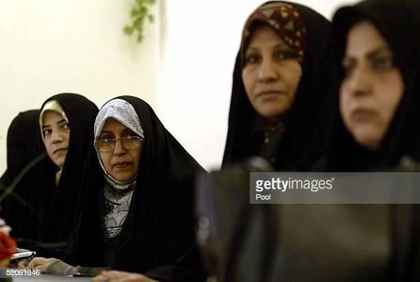 Iraqi election candidates Nadia Hashim alMusawi Nawal Abdel Rida Fariha Kazem Shahla Abbas and Anwar Ali Rida meet with the press at the Human Right...