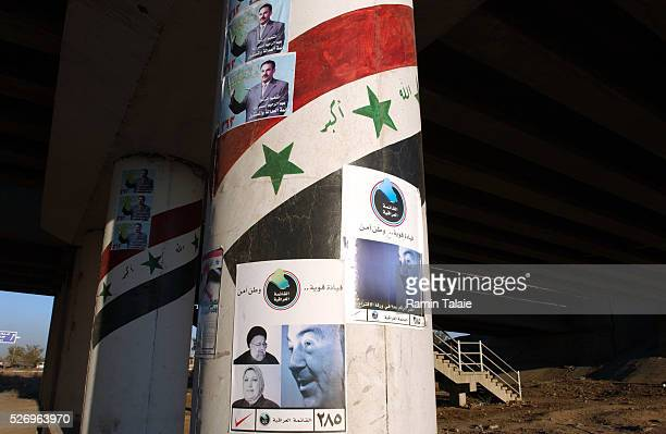 Iraqi election posters are posted on Route Irish the high profiled highway connecting Baghdad International Airport to the city center in Iraq on...