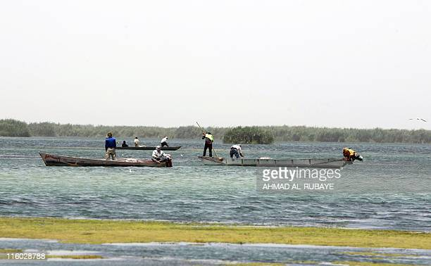 Iraqi fishermen sit in their dugouts on the alHuwaiza marshes northern Amara 420 km south of Baghdad on June 13 considered to be the demarcation line...