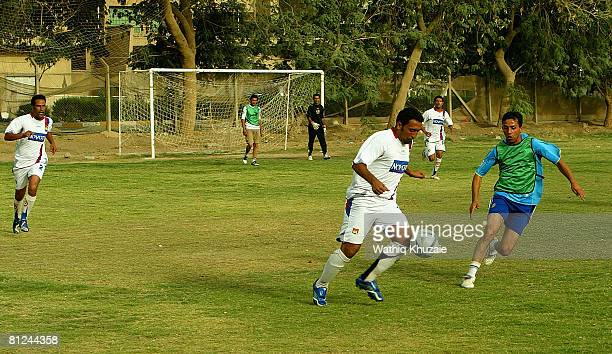 Iraqi football players from FPS football club and Iraqi National Police sport club play a friendly match on May 27 2008 in Baghdad Iraq The Iraqi...