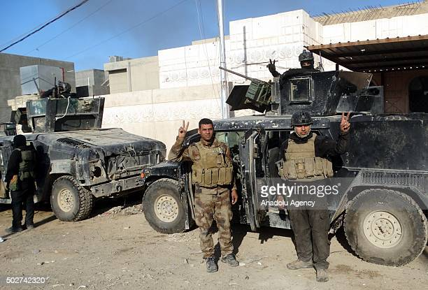 Iraqi forces are seen as they reseized the Ramadi centrum from Daesh terrorist after an operation in Ramadi Iraq on December 28 2015