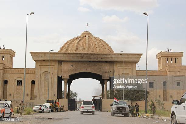 Iraqi forces including soldiers police officers Shiite militias and Sunni tribes patrol near presidential palaces of Saddam Hussein on April 1 2015...