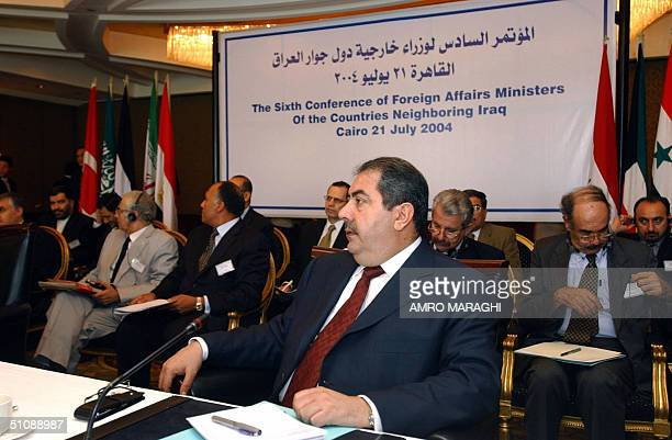Iraqi Foreign Minister Hoshyar Zebari heads his country's delegation during the sixth conference of foreign affairs ministers of the group of...