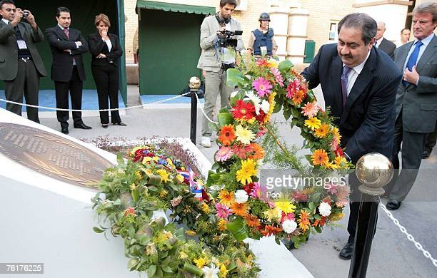 Iraqi Foreign Minister Hoshyar Zebari lays a wreath during a memorial attended by his French counterpart Bernard Kouchner at a monument outside the...