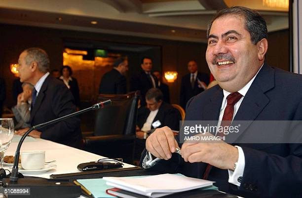 Iraqi Foreign Minister Hoshyar Zebari smiles prior to the opening of the sixth conference of foreign affairs ministers of the group of countries...