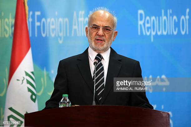 Iraqi Foreign Minister Ibrahim alJaafari speaks during a joint press conference with Hungarian Minister of External Economy and Foreign Affairs Peter...