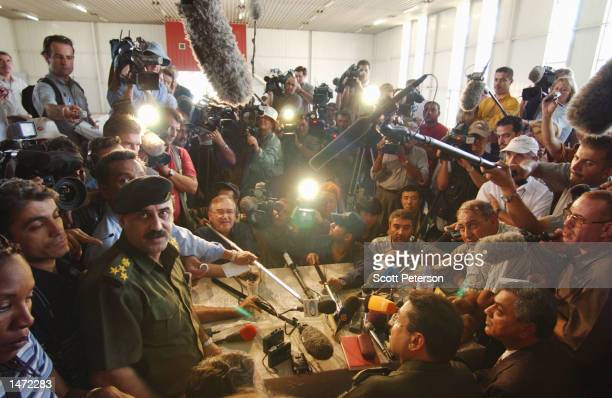 Iraqi General Saadi Abbas director of the Al Furat military facility answers questions about the Al Furat military facility October 12 2002 in Al...