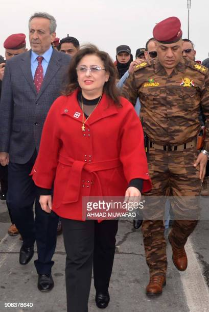 Iraqi Housing Minister engineer Anne Nafi Aussei arrives on January 18 2018 to check reconstruction work around Mosul's fourth bridge which connects...